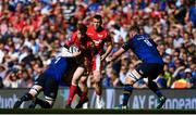 21 April 2018; Rhys Patchell of Scarlets is tackled by Dan Leavy of Leinster during the European Rugby Champions Cup Semi-Final match between Leinster Rugby and Scarlets at the Aviva Stadium in Dublin. Photo by Sam Barnes/Sportsfile
