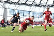 21 April 2018; Steff Evans of Scarlets in action against Jordan Larmour of Leinster during the European Rugby Champions Cup Semi-Final match between Leinster Rugby and Scarlets at the Aviva Stadium in Dublin. Photo by Sam Barnes/Sportsfile