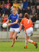 22 April 2018; Aishling Moloney of Tipperary in action against Mairéad Tennyson of Armagh during the Lidl Ladies Football National League Division 2 semi-final match between Tipperary and Armagh at Coralstown Kinnegad GAA in Kinnegad, Westmeath. Photo by Piaras Ó Mídheach/Sportsfile