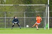 22 April 2018; Aimee Mackin of Armagh scores a goal from a penalty past Tipperary goalkeeper Lauren Fitzpatrick during the Lidl Ladies Football National League Division 2 semi-final match between Tipperary and Armagh at Coralstown Kinnegad GAA in Kinnegad, Westmeath. Photo by Piaras Ó Mídheach/Sportsfile