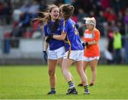 22 April 2018; Tipperary's Rachel O'Donnell, left, and team-mate Maria Curley celebrate after the Lidl Ladies Football National League Division 2 semi-final match between Tipperary and Armagh at Coralstown Kinnegad GAA in Kinnegad, Westmeath. Photo by Piaras Ó Mídheach/Sportsfile