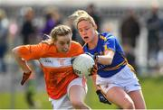 22 April 2018; Aoife McCoy of Armagh in action against Samantha Lambert of Tipperary during the Lidl Ladies Football National League Division 2 semi-final match between Tipperary and Armagh at Coralstown Kinnegad GAA in Kinnegad, Westmeath. Photo by Piaras Ó Mídheach/Sportsfile