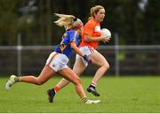 22 April 2018; Caroline O'Hanlon of Armagh in action against Orla O'Dwyer of Tipperary during the Lidl Ladies Football National League Division 2 semi-final match between Tipperary and Armagh at Coralstown Kinnegad GAA in Kinnegad, Westmeath. Photo by Piaras Ó Mídheach/Sportsfile