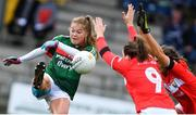 22 April 2018; Sarah Rowe of Mayo is tackled by Brid O'Sullivan, left, and Eimear Meaney of Cork during the Lidl Ladies Football National League Division 1 semi-final match between Cork and Mayo at St Brendan's Park in Birr, Offaly. Photo by Ramsey Cardy/Sportsfile