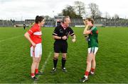 22 April 2018; Referee Brendan Rice shares a joke with team captains Ciara O'Sullivan of Cork and Sarah Tierney of Mayo ahead of the Lidl Ladies Football National League Division 1 semi-final match between Cork and Mayo at St Brendan's Park in Birr, Offaly. Photo by Ramsey Cardy/Sportsfile