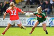22 April 2018; Sarah Rowe of Mayo in action against Orlagh Farmer of Cork during the Lidl Ladies Football National League Division 1 semi-final match between Cork and Mayo at St Brendan's Park in Birr, Offaly. Photo by Ramsey Cardy/Sportsfile