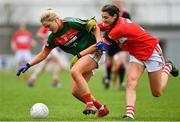 22 April 2018; Fiona Doherty of Mayo is tackled by Eimear Meaney of Cork during the Lidl Ladies Football National League Division 1 semi-final match between Cork and Mayo at St Brendan's Park in Birr, Offaly. Photo by Ramsey Cardy/Sportsfile