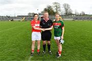 22 April 2018; Referee Brendan Rice with team captains Ciara O'Sullivan of Cork and Sarah Tierney of Mayo ahead of the Lidl Ladies Football National League Division 1 semi-final match between Cork and Mayo at St Brendan's Park in Birr, Offaly. Photo by Ramsey Cardy/Sportsfile