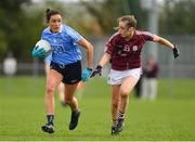 22 April 2018; Niamh McEvoy of Dublin in action against Caitriona Cormican of Galway during the Lidl Ladies Football National League Division 1 semi-final match between Dublin and Galway at Coralstown Kinnegad GAA in Kinnegad, Westmeath. Photo by Piaras Ó Mídheach/Sportsfile