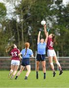 22 April 2018; Niamh McEvoy of Dublin, supported by team-mate Lauren Magee, in action against Aine McDonagh of Galway, supported by team-mate Caitriona Cormican, during the Lidl Ladies Football National League Division 1 semi-final match between Dublin and Galway at Coralstown Kinnegad GAA in Kinnegad, Westmeath. Photo by Piaras Ó Mídheach/Sportsfile