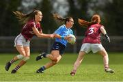 22 April 2018; Siobhán McGrath of Dublin in action against Aine McDonagh, left, and Sarah Lynch of Galway during the Lidl Ladies Football National League Division 1 semi-final match between Dublin and Galway at Coralstown Kinnegad GAA in Kinnegad, Westmeath. Photo by Piaras Ó Mídheach/Sportsfile