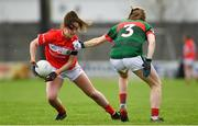 22 April 2018; Eimear Scally of Cork is tackled by Sarah Tierney of Mayo during the Lidl Ladies Football National League Division 1 semi-final match between Cork and Mayo at St Brendan's Park in Birr, Offaly. Photo by Ramsey Cardy/Sportsfile
