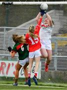 22 April 2018; Mayo goalkeeper Rachel Kearns, supported by Emma Lowther, is tackled by Orla Finn of Cork during the Lidl Ladies Football National League Division 1 semi-final match between Cork and Mayo at St Brendan's Park in Birr, Offaly. Photo by Ramsey Cardy/Sportsfile