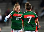 22 April 2018; Sarah Rowe, left, and Doireann Hughes of Mayo following their victory in the Lidl Ladies Football National League Division 1 semi-final match between Cork and Mayo at St Brendan's Park in Birr, Offaly. Photo by Ramsey Cardy/Sportsfile