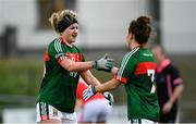 22 April 2018; Fiona McHale, left, and Doireann Hughes of Mayo following their victory in the Lidl Ladies Football National League Division 1 semi-final match between Cork and Mayo at St Brendan's Park in Birr, Offaly. Photo by Ramsey Cardy/Sportsfile