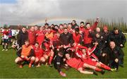 22 April 2018; Cork Youth League players and staff celebrate after the FAI Youth Interleague Cup Final match between Mayo Schoolboys & Youths Association Football League and Cork Youth League at Milebush Park in Castlebar, Mayo. Photo by Harry Murphy/Sportsfile