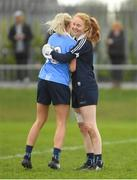 22 April 2018; Dublin's Ciara Trant, right, and Nicole Owens celebrate after the Lidl Ladies Football National League Division 1 semi-final match between Dublin and Galway at Coralstown Kinnegad GAA in Kinnegad, Westmeath. Photo by Piaras Ó Mídheach/Sportsfile