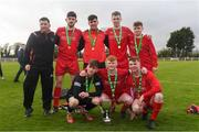 22 April 2018; Players from Carrigaline United with the trophy after the FAI Youth Interleague Cup Final match between Mayo Schoolboys & Youths Association Football League and Cork Youth League at Milebush Park in Castlebar, Mayo. Photo by Harry Murphy/Sportsfile
