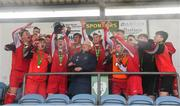 22 April 2018; Jack Turner of Cork Youth League lifts the trophy after the FAI Youth Interleague Cup Final match between Mayo Schoolboys & Youths Association Football League and Cork Youth League at Milebush Park in Castlebar, Mayo. Photo by Harry Murphy/Sportsfile