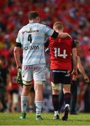 22 April 2018; Donnacha Ryan of Racing 92 consoles his former team-mate Keith Earls of Munster after the European Rugby Champions Cup semi-final match between Racing 92 and Munster Rugby at the Stade Chaban-Delmas in Bordeaux, France. Photo by Brendan Moran/Sportsfile