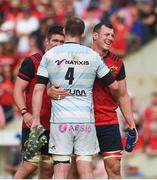 22 April 2018; Robin Copeland of Munster with Donnacha Ryan of Racing 92 after the European Rugby Champions Cup semi-final match between Racing 92 and Munster Rugby at the Stade Chaban-Delmas in Bordeaux, France. Photo by Diarmuid Greene/Sportsfile