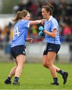 22 April 2018; Niamh McEvoy of Dublin, right, is congratulated on scoring a goal by team-mate Noëlle Healy during the Lidl Ladies Football National League Division 1 semi-final match between Dublin and Galway at Coralstown Kinnegad GAA in Kinnegad, Westmeath. Photo by Piaras Ó Mídheach/Sportsfile