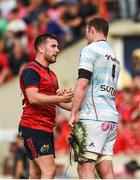 22 April 2018; JJ Hanrahan of Munster with Donnacha Ryan of Racing 92 after the European Rugby Champions Cup semi-final match between Racing 92 and Munster Rugby at the Stade Chaban-Delmas in Bordeaux, France. Photo by Diarmuid Greene/Sportsfile