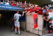 22 April 2018; Donnacha Ryan of Racing 92 is greeted by Munster supporters after the European Rugby Champions Cup semi-final match between Racing 92 and Munster Rugby at the Stade Chaban-Delmas in Bordeaux, France. Photo by Diarmuid Greene/Sportsfile