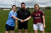 22 April 2018; Referee Séamus Mulvihill with team captains Sinead Aherne of Dublin and Tracey Leonard of Galway before the Lidl Ladies Football National League Division 1 semi-final match between Dublin and Galway at Coralstown Kinnegad GAA in Kinnegad, Westmeath. Photo by Piaras Ó Mídheach/Sportsfile