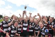 22 April 2018; Dundalk captain, Caoimhe O'Callaghan, lifts the cup as her team-mates celebrate after the U16 Shield match between Dundalk and Portarlington at Navan RFC in Meath. Photo by Matt Browne/Sportsfile