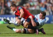 22 April 2018; Ian Keatley of Munster is tackled by Donnacha Ryan of Racing 92 during the European Rugby Champions Cup semi-final match between Racing 92 and Munster Rugby at the Stade Chaban-Delmas in Bordeaux, France. Photo by Brendan Moran/Sportsfile