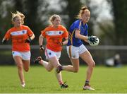 22 April 2018; Aishling Moloney of Tipperary gets past Armagh's Kelly Mallon and Fionnuala McKenna, centre, during the Lidl Ladies Football National League Division 2 semi-final match between Tipperary and Armagh at Coralstown Kinnegad GAA in Kinnegad, Westmeath. Photo by Piaras Ó Mídheach/Sportsfile
