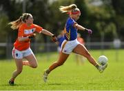 22 April 2018; Orla O'Dwyer of Tipperary in action against Fionnuala McKenna of Armagh during the Lidl Ladies Football National League Division 2 semi-final match between Tipperary and Armagh at Coralstown Kinnegad GAA in Kinnegad, Westmeath. Photo by Piaras Ó Mídheach/Sportsfile