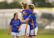 22 April 2018; Tipperary's Samantha Lambert, left, and Jennifer Grant celebrate after the Lidl Ladies Football National League Division 2 semi-final match between Tipperary and Armagh at Coralstown Kinnegad GAA in Kinnegad, Westmeath. Photo by Piaras Ó Mídheach/Sportsfile