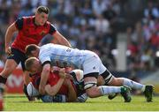 22 April 2018; Keith Earls of Munster is tackled by Donnacha Ryan of Racing 92 during the European Rugby Champions Cup semi-final match between Racing 92 and Munster Rugby at the Stade Chaban-Delmas in Bordeaux, France. Photo by Brendan Moran/Sportsfile