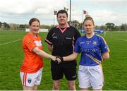 22 April 2018; Referee Stephen McNulty with team captains Caoimhe Morgan of Armagh and Samantha Lambert of Tipperary before the Lidl Ladies Football National League Division 2 semi-final match between Tipperary and Armagh at Coralstown Kinnegad GAA in Kinnegad, Westmeath. Photo by Piaras Ó Mídheach/Sportsfile