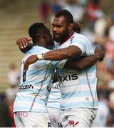 22 April 2018; Yannick Nyanga, left, and Leone Nakawara of Racing 92 after the European Rugby Champions Cup semi-final match between Racing 92 and Munster Rugby at the Stade Chaban-Delmas in Bordeaux, France. Photo by Diarmuid Greene/Sportsfile