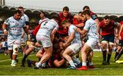 22 April 2018; Rhys Marshall of Munster scores his side's second try despite the efforts of Camille Chat, left, and Marc Andreu of Racing 92 during the European Rugby Champions Cup semi-final match between Racing 92 and Munster Rugby at the Stade Chaban-Delmas in Bordeaux, France. Photo by Diarmuid Greene/Sportsfile