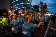 22 April 2018; Participants make their way past the Convention Centre during the KBC Night Run on North Wall Quay in Dublin. Photo by David Fitzerald/Sportsfile