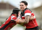 22 April 2018; Megan Dunne of Wicklow is tackled by Ciara Wyne of Mullingar during the 18s Cup match between Mullingar and Wicklow at Navan RFC in Meath. Photo by Matt Browne/Sportsfile