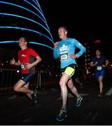 22 April 2018; Ciaran McGrath makes his way past the Convention Centre during the KBC Night Run on North Wall Quay in Dublin.  Photo by David Fitzgerald/Sportsfile