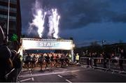 22 April 2018; A general view at the start the KBC Night Run on North Wall Quay in Dublin. Photo by David Fitzgerald/Sportsfile
