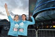 22 April 2018; Participants Sharon Wall, left, and Emma Groarke prior to the KBC Night Run on North Wall Quay in Dublin.  Photo by David Fitzgerald/Sportsfile