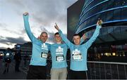 22 April 2018; Participants, from left, John Brennan, Lee Brennan and Keith Brennan prior to the KBC Night Run on North Wall Quay in Dublin.  Photo by David Fitzgerald/Sportsfile