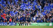 21 April 2018; Jonathan Sexton of Leinster celebrates with team-mates after scoring their side's fifth during the European Rugby Champions Cup Semi-Final match between Leinster Rugby and Scarlets at the Aviva Stadium in Dublin. Photo by Brendan Moran/Sportsfile