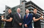 22 April 2018; Ronan Finn, PwC Partner, second right, alongside Uachtarán Chumann Lúthchleas Gael, John Horan, are pictured with Galway Footballer Damien Comer, left, and Tipperary Hurler Jason Forde at the announcement of the April PwC GAA/GPA Player of the Month Awards at a reception in PwC Offices, Dublin. Photo by David Fitzgerald/Sportsfile
