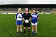 22 April 2018; Referee Garryown McMahon with captains Mairead Wall of Waterford and Sinead Greene of Cavan during the Lidl Ladies Football National League Division 2 semi-final match between Waterford and Cavan at St Brendan's Park in Birr, Offaly. Photo by Ramsey Cardy/Sportsfile
