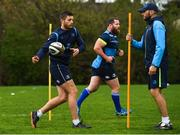 24 April 2018; Ross Byrne, left, with backs coach Girvan Dempsey during Leinster Rugby squad training at Rosemount in UCD, Dublin. Photo by Brendan Moran/Sportsfile