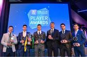 21 April 2018; Corofin players from left, Dylan Wall, Martin Farragher, Liam Silke, Kieran Fitzgerald, Michael Farragher and Ian Burke with their awards at the AIB GAA Club Player Awards at Croke Park in Dublin. Photo by Eóin Noonan/Sportsfile