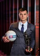 25 April 2018; AIB present Corofin's Liam Silke with the 2017/2018 AIB GAA Club Footballer of the Year award. AIB and The GAA honoured 30 players on Saturday evening at the inaugural AIB GAA Club Player Football and Hurling Teams of the Year. The awards ceremony was the first of its kind in the club championship to recognise the top performing club players and to celebrate their hard work, commitment and individual achievements at a national level. For exclusive content and to see why AIB are backing Club and County follow us @AIB_GAA on Twitter, Instagram, Snapchat, Facebook and AIB.ie/GAA. Photo by Eóin Noonan/Sportsfile